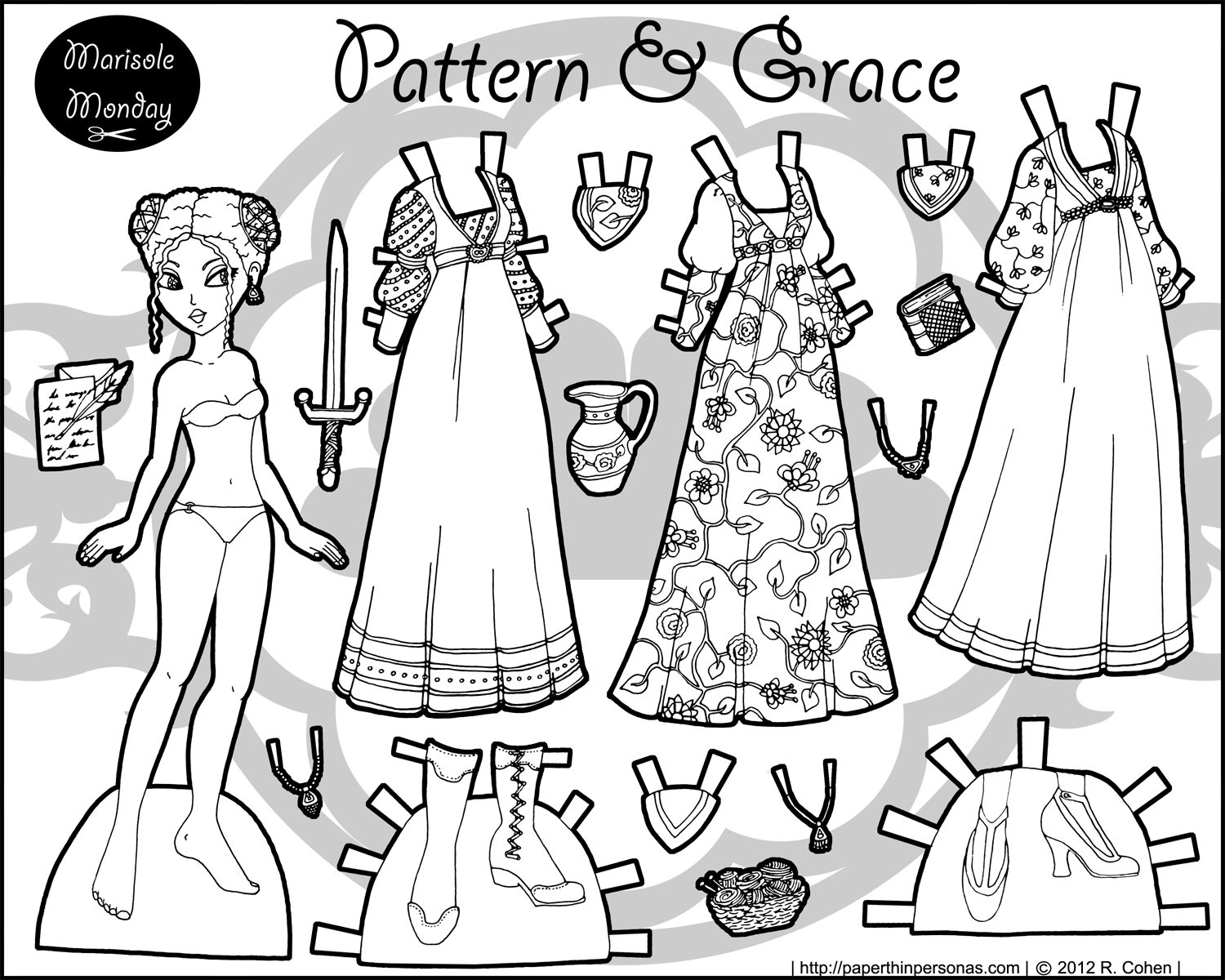 Patterns & Grace: A Black & White Fantasy Paper Doll