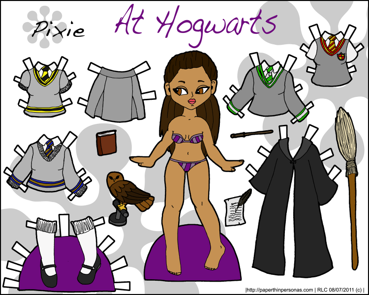 A Harry Potter inspired paper doll of a young Hogwarts Students with uniforms and accesories. Free from PaperThinPersonas.com