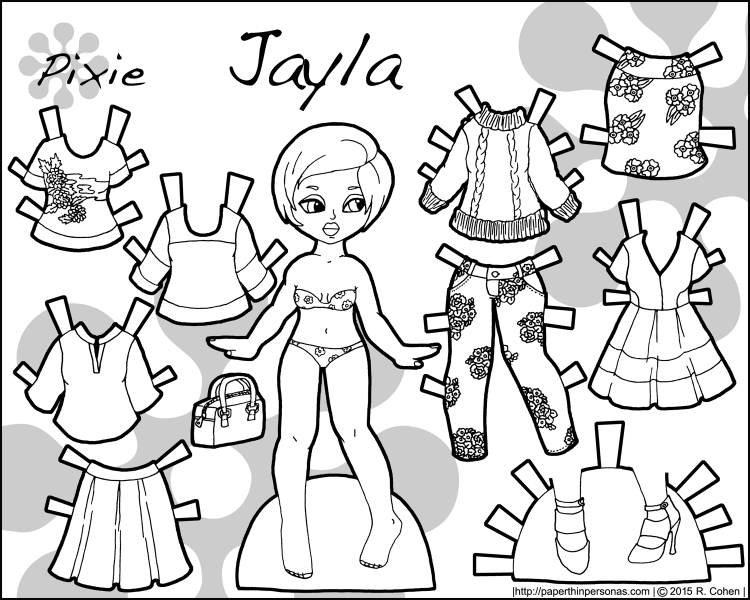 A printable paper doll featuring a young black woman and her fashionable floral wardrobe. Ten pieces to mix and match. Free to print and color from paperthinpersonas.com