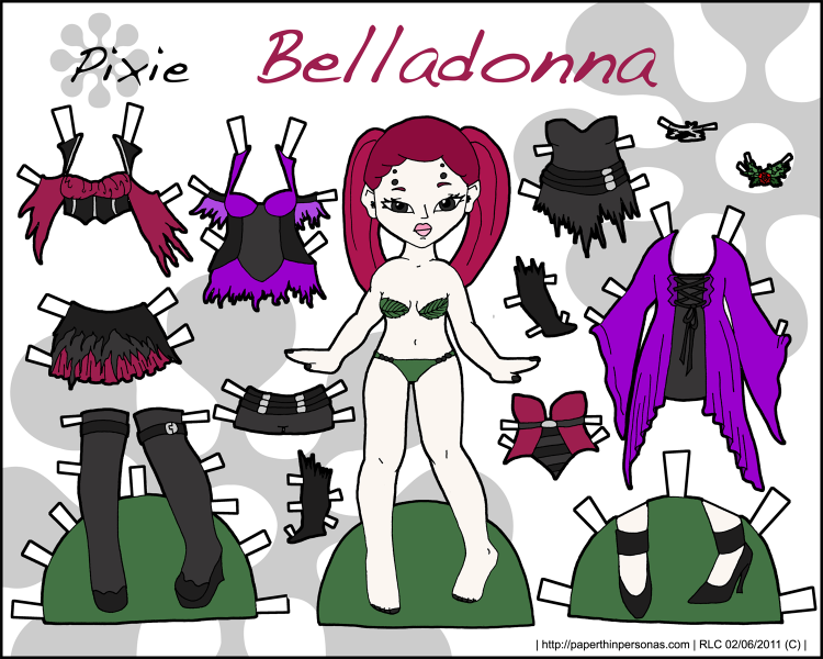 A gothic fairy paper doll with a 12 piece wardrobe from paperthinpersonas.com.