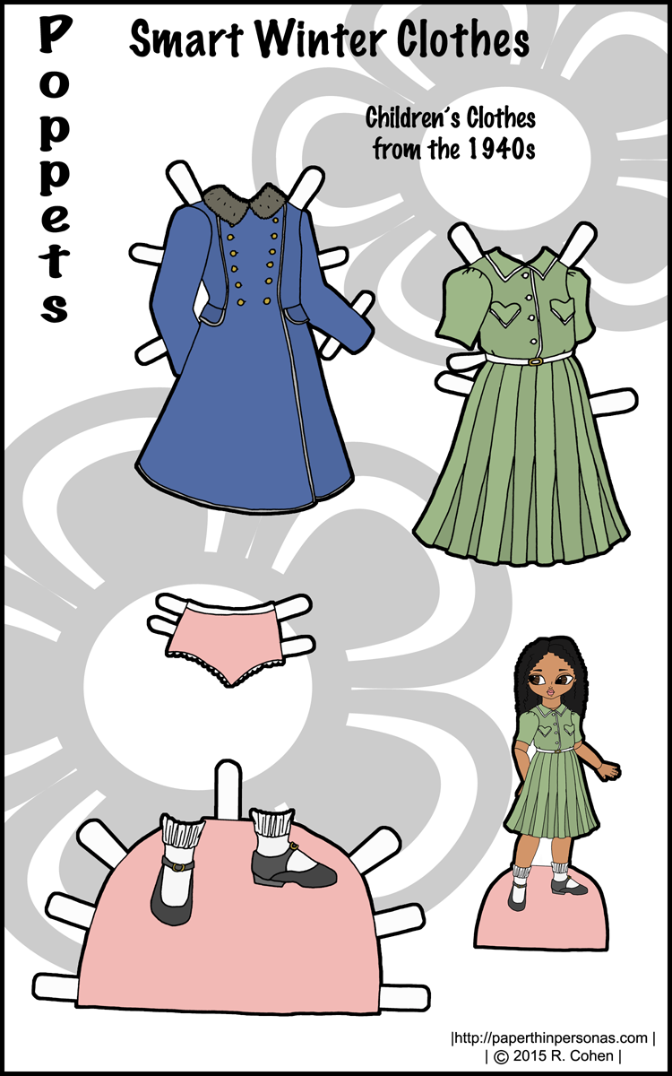 photo about Printable Paper Dolls Clothes called Wise Winter season Dresses: 1940s Printable Paper Doll Dresses