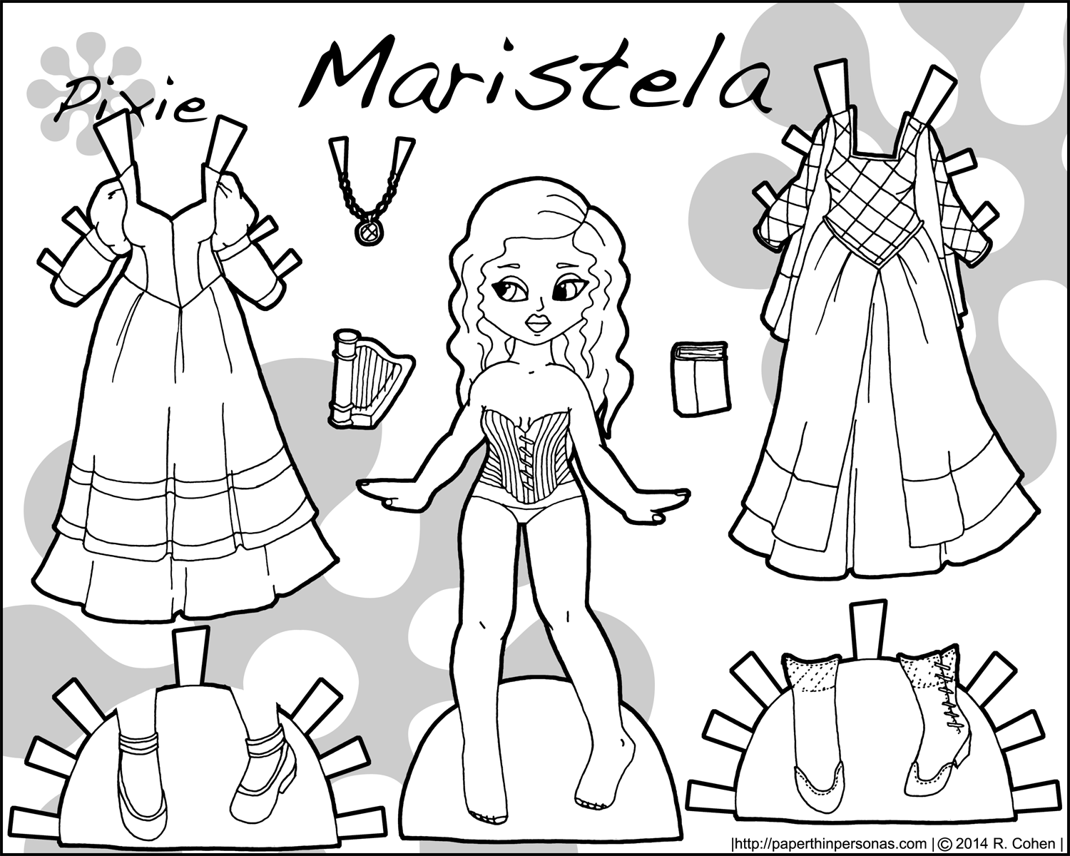 princess paper dolls coloring pages - photo#8