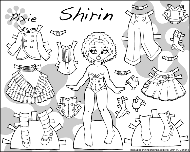 shirin-steampunk-paper-doll-colorable-doll