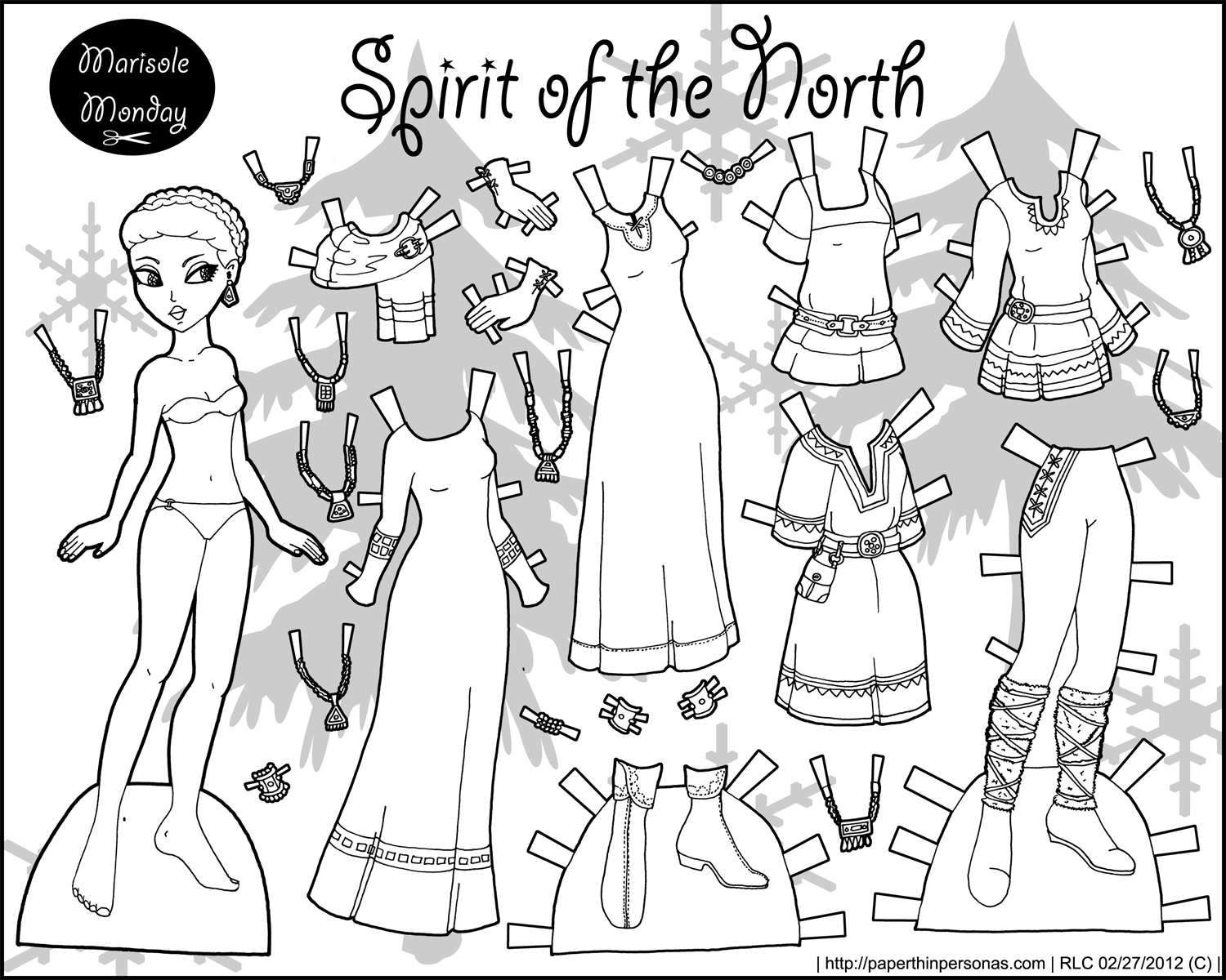 graphic relating to Free Printable Paper Dolls Black and White identify Spirit of the North: Black and White Printable Paper Doll