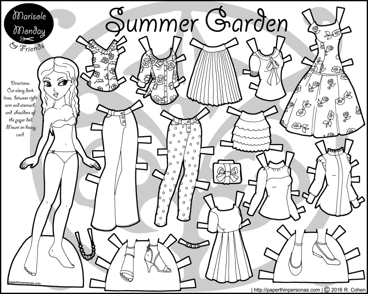 A black and white paper doll dress up set of sixteen pieces including two pairs of shoes, five tops, two dresses, two skirts, two pairs of pants and two pairs of shoes. Free to print and color from paperthinpersonas.com.