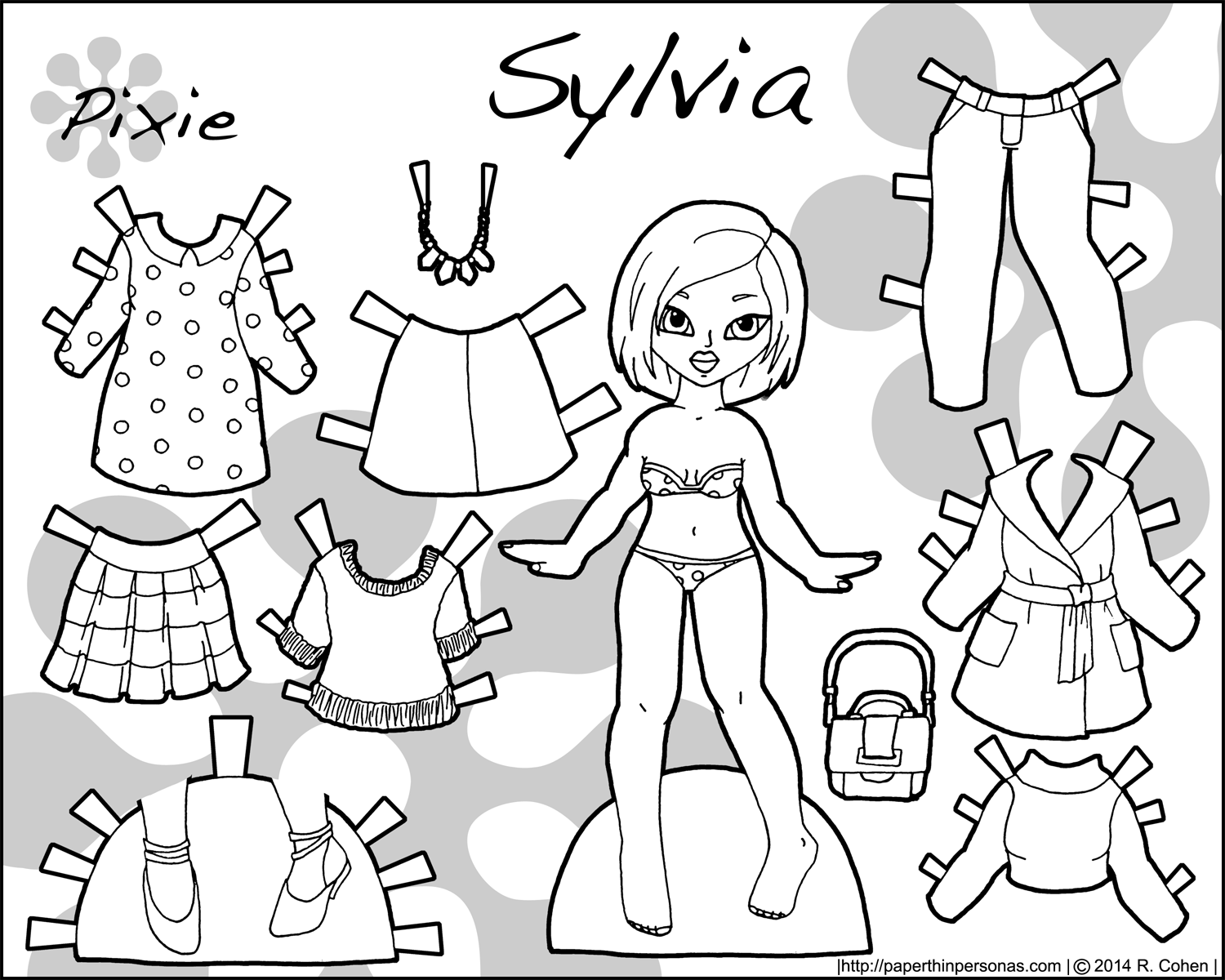 image regarding Paper Doll Clothes Printable named Sylvia: An Asian Printable Paper Doll with Modern day