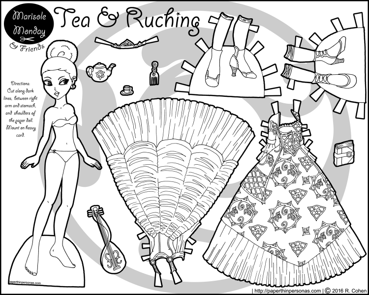 A black princess paper doll to print and color with two ball gowns, a hair pick, tea set and other accessories. Free to print and color from PaperThinPersonas.com