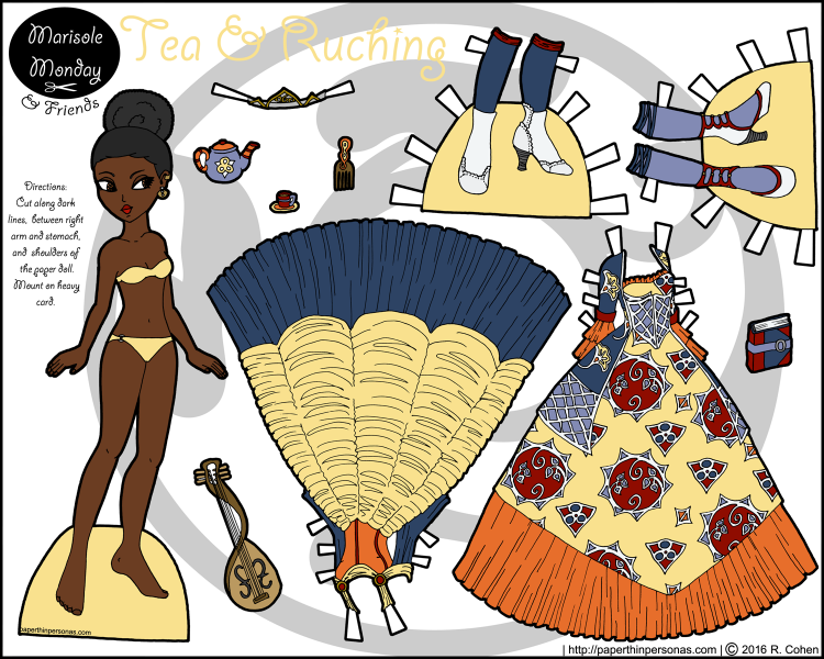 An elegant princess paper doll inspired by African wax print fabrics. She's got two fantasy gowns and lots of fun accessories. Free to print from paperthinpersonas.com.