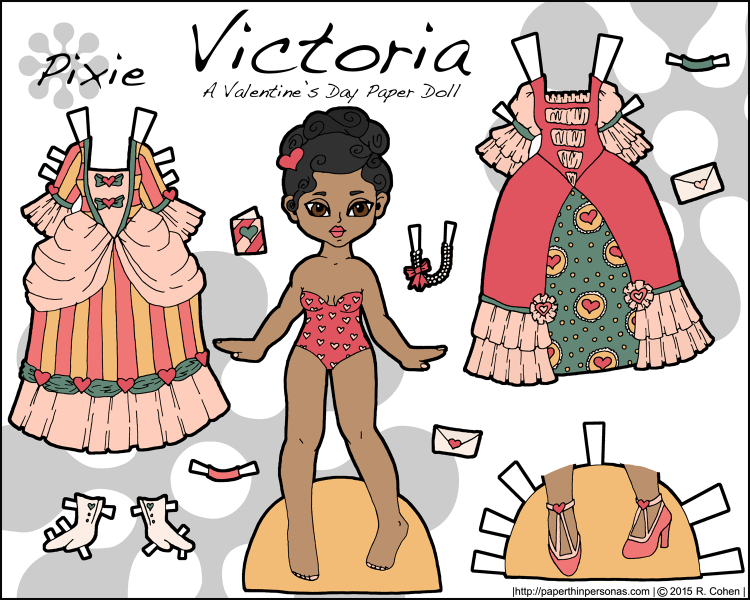 A Valentine's Day paper doll named Victoria and inspired by Victorian valentines. Print her from paperthinpersonas.com.