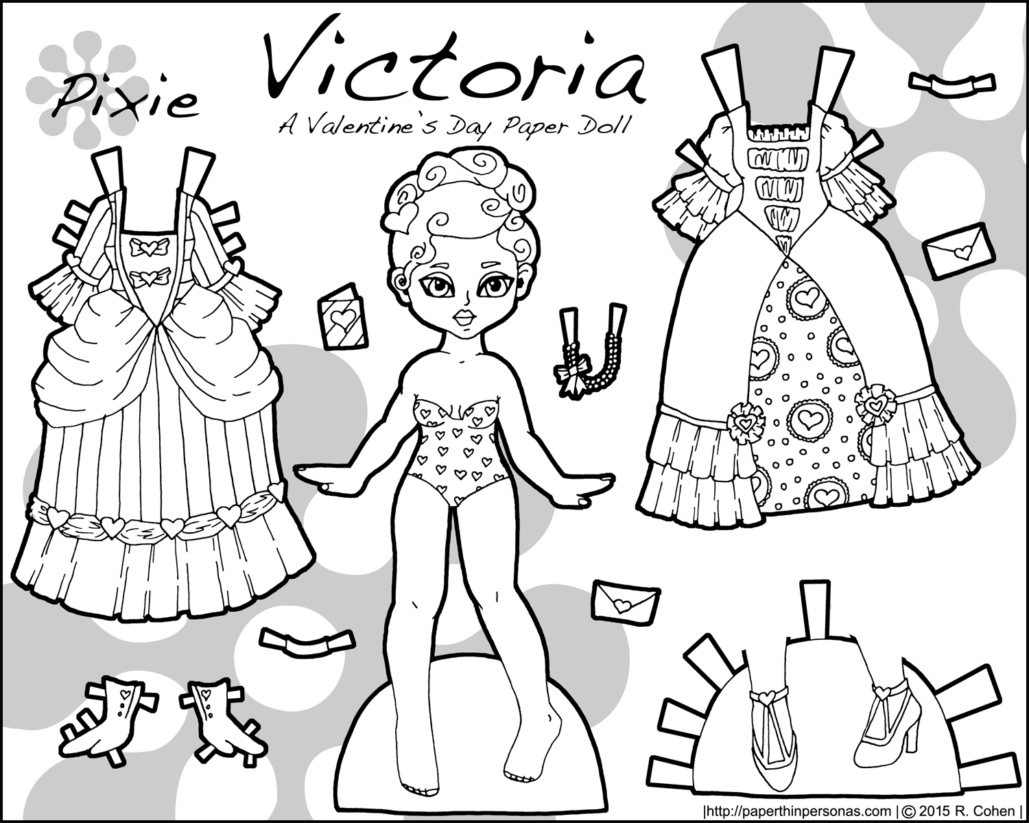 Victoria coloring dresses victorian clothes colouring pages page 2 - A Black And White Valentine S Day Paper Doll Named Victoria And Inspired By Victorian Valentines