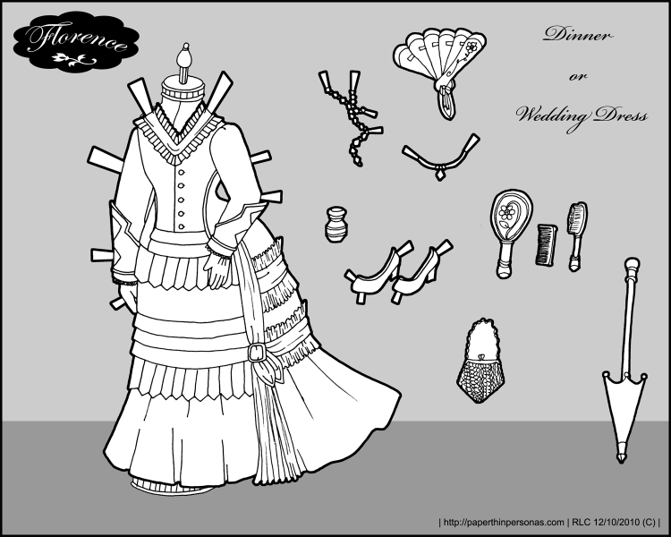 A wedding dress for Florence, a paper doll based on a French fashion doll of the 1870s.