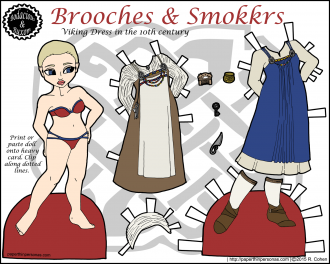 A paper doll of a viking woman from the 10th century with two historical outfits based on the work of scholars in Viking dress in color. She also has shoes and historical accessories.
