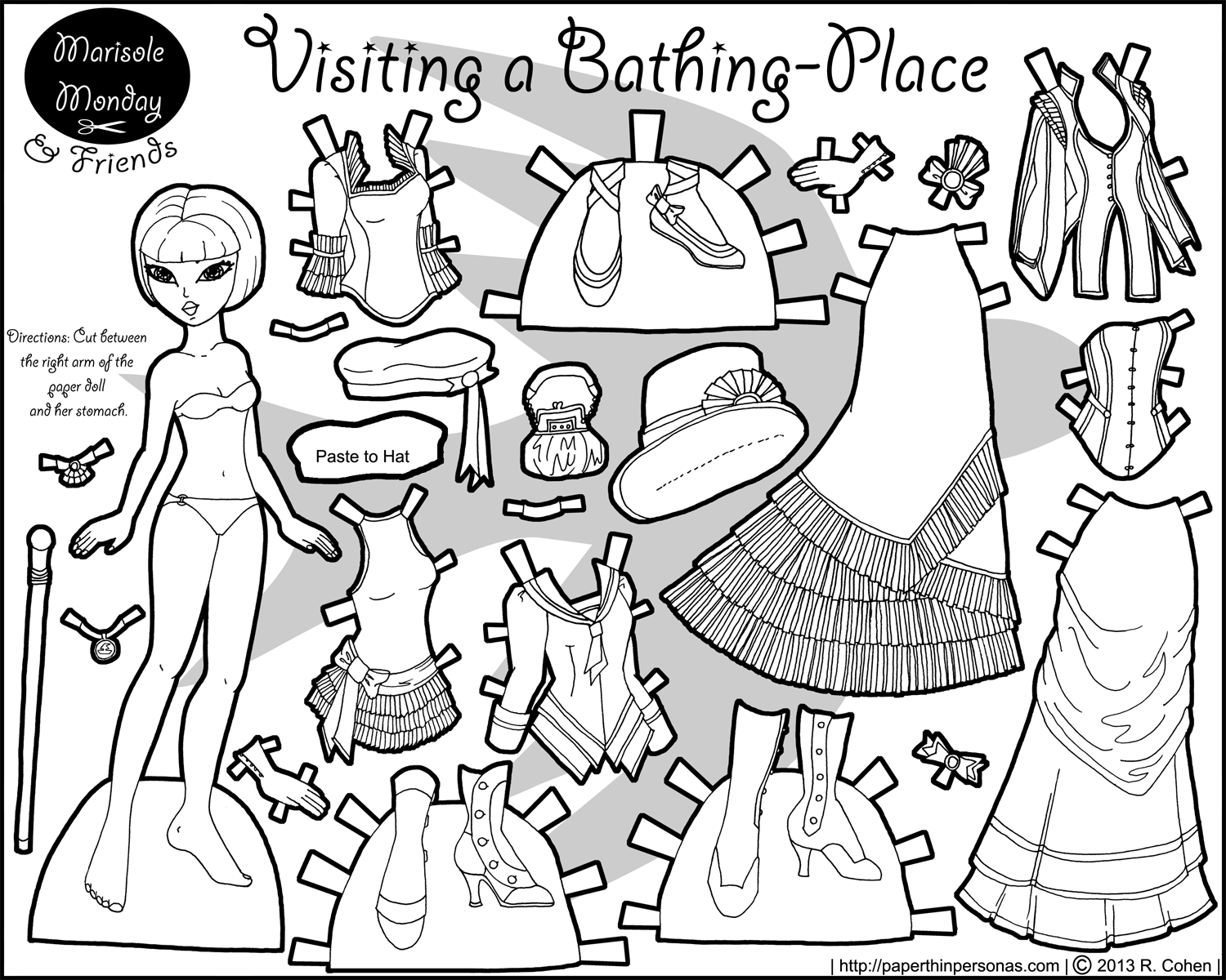 Steampunk Paper Doll Mia at the Bathing Placer