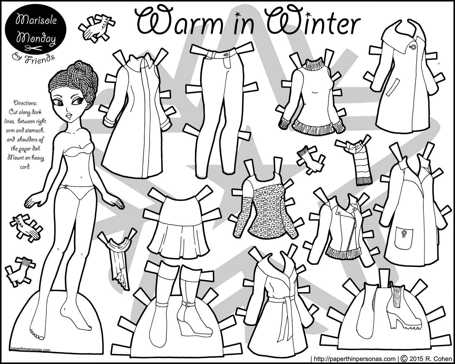 Warm in Winter African American Paper Doll Coloring Page Paper