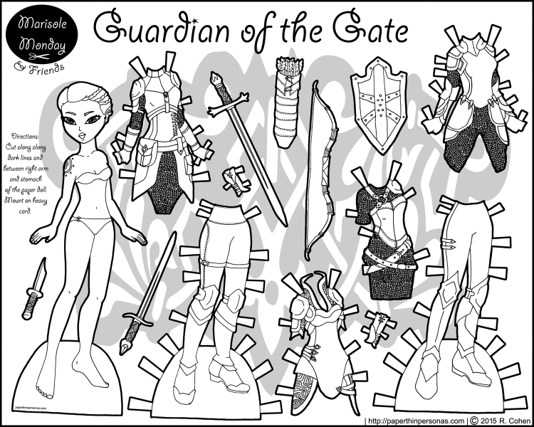 A fantasy lady knight paper doll coloring sheet with six pieces of armor, weapons and a shield. Free to print and color from paperthinpersonas.com
