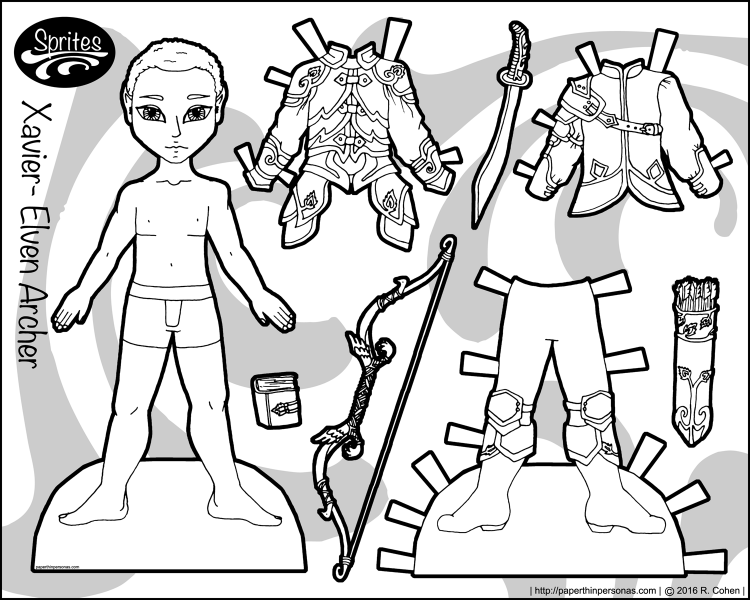 Xavier, one of my boy paper dolls, gets to be an elven archer in this fantasy paper doll set. Free to print and color from paperthinpersonas.com
