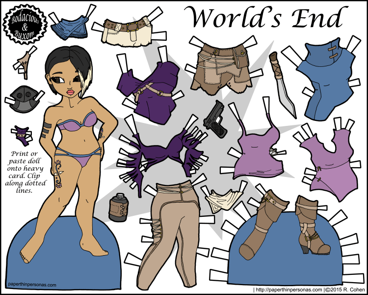 A post-apocalyptic fashion printable paper doll in color with a 13 piece wardrobe. She's free to print from paperthinpersonas.com.
