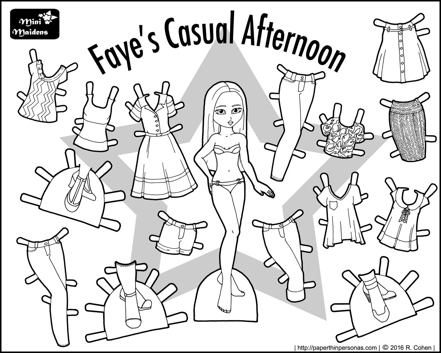Fayes Casual Afternoon Paper Doll Coloring Sheet