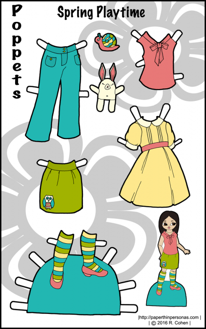A colorful set of paper doll clothing for the Poppets! A dress, blouse, shoes, pants and a skirt, plus some fun toys. Free to print from paperthinprsonas.com.