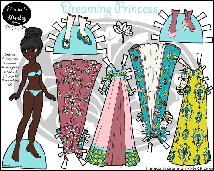 A black princess paper doll download featuring four colorful gowns and two pairs of shoes. Free from paperthinpersonas.com