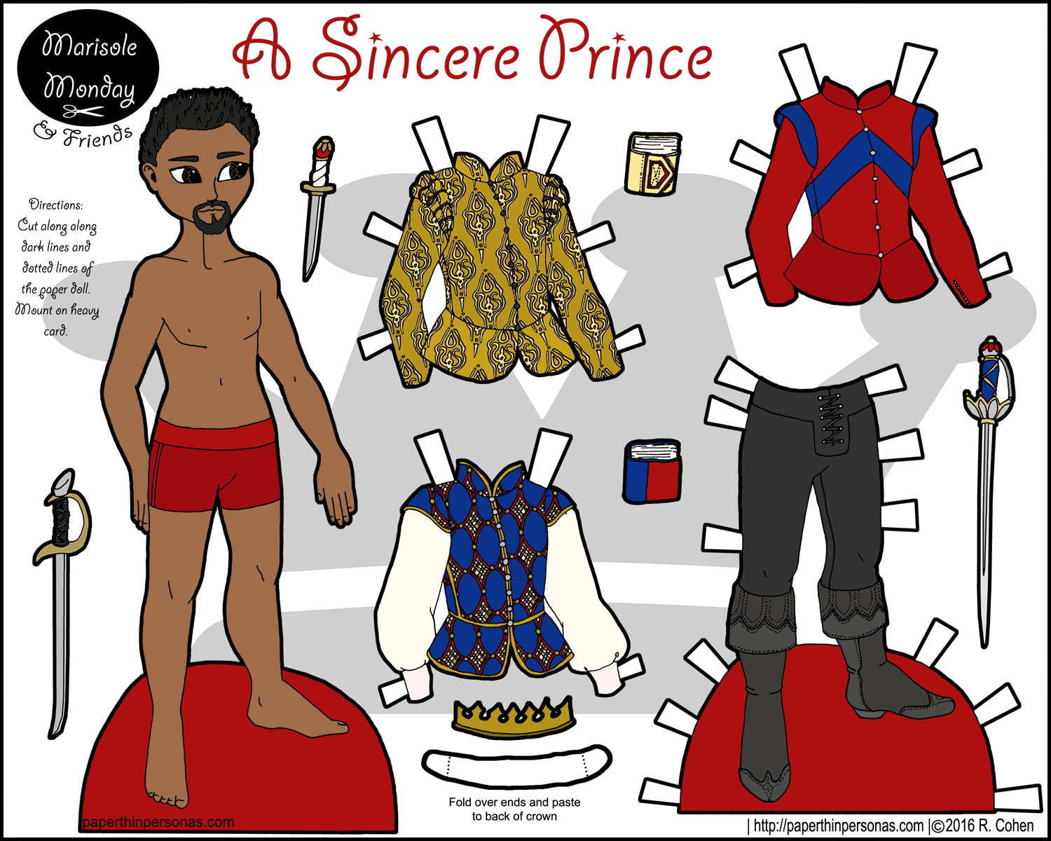 A Black Fairy Tale Prince Paper Doll With Four Piece Wardrobe Part Of The
