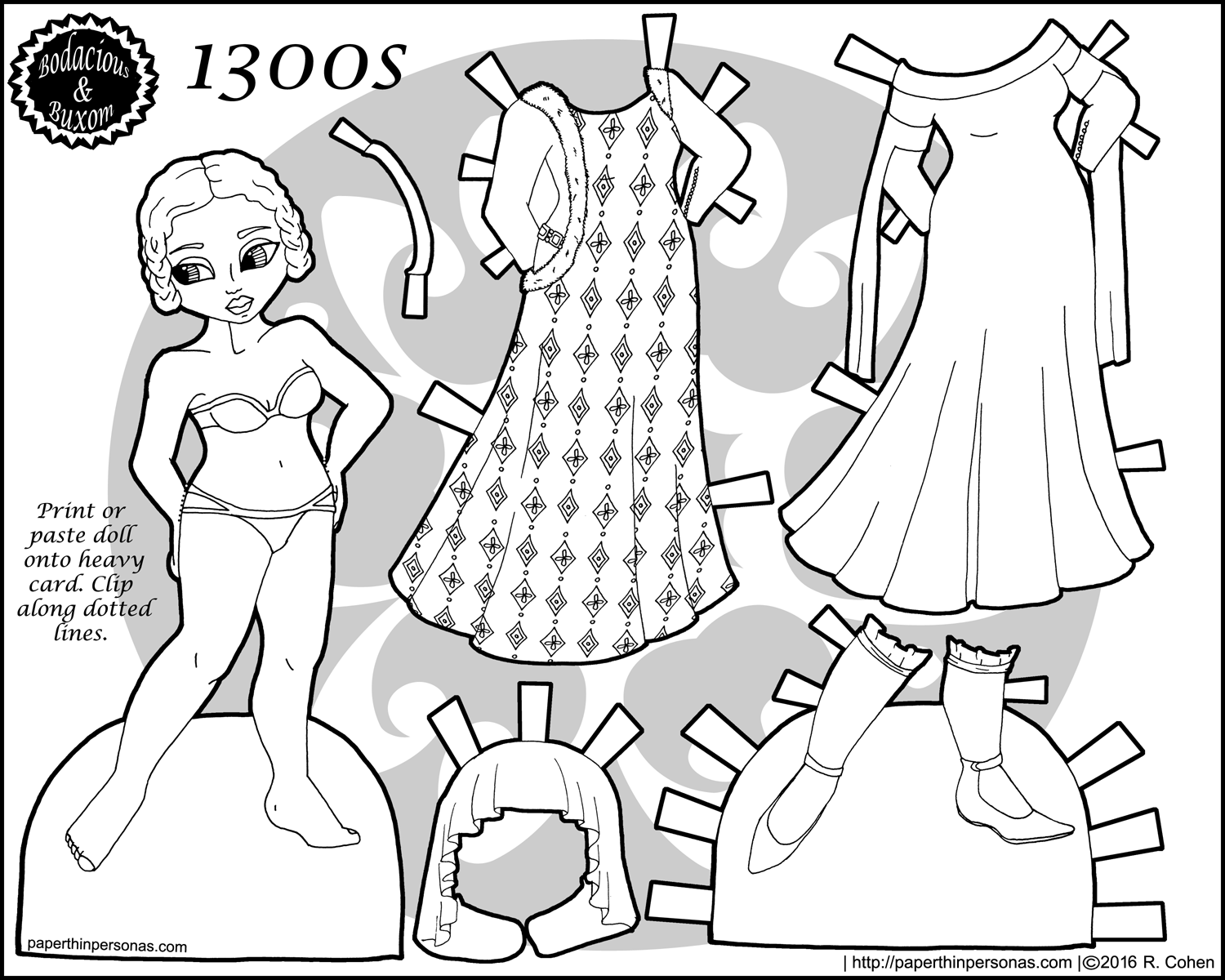 A 1300s Fashion Paper Doll Coloring Page With Five Piece Wardrobe Free To Print