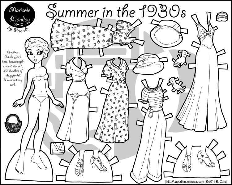 A paper doll coloring page celebrating the 1930s with a five piece wardrobe, hats and accessories. Free to print from paperthinpersonas.com.