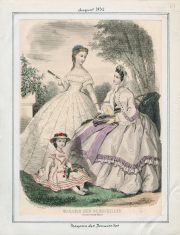 Fashion plate from Casey fashion plate collection from August 1862 featuring two women and a child.