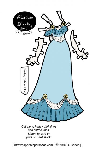 A pale blue and yellow Edwardian paper doll dress. Also available in black and white for coloring. Free to print from paperthinpersonas.com.