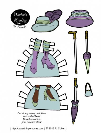 Printable paper doll accessories including shoes and hats! Also available in black and white. From paperthinpersonas.com.