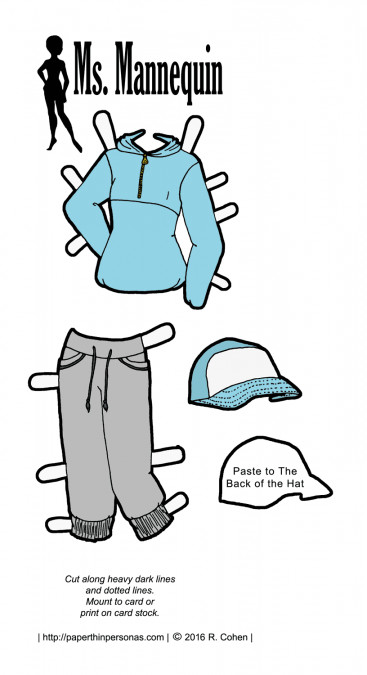 A paper doll outfit inspired by hip-hop fashions featuring a blue windbreaker and baseball cap. Free to print in black and white or color from paperthinpersonas.com