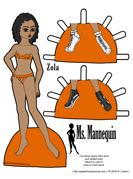 Zola, a black paper doll, is a model for the Ms Mannequin series. She has curly hair and two pairs of tennis shoes.