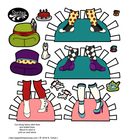 Hat and shoes for Alice and the Mad Hatter paper dolls! Plus lots of tea accessories.