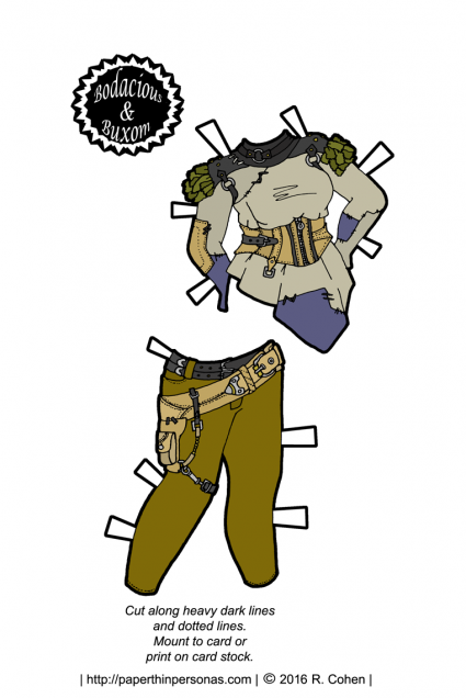 A post-apocalyptic set of paper doll fashions