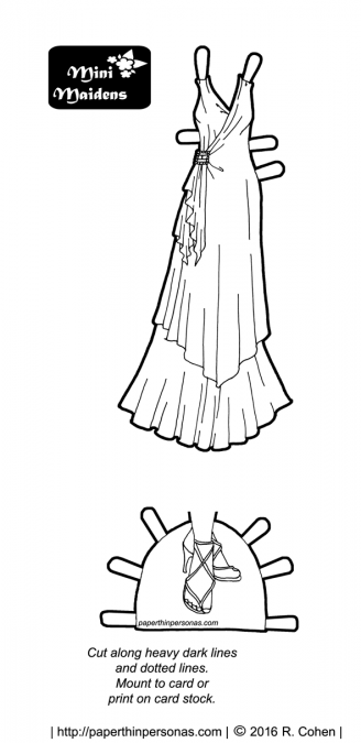 A 1930s inspired printable paper doll evening gown with strappy formal shoes in black and white for coloring. Free to print from paperthinpersonas.com