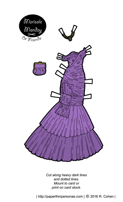 A purple ruched evening gown for the Marisole Monday and Friends paper doll series. Free to print in color or black and white.