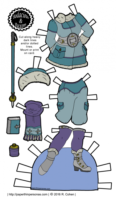 A steampunk arctic explorer outfit for my curvy paper doll series. Free to print from paperthinpersonas.com.