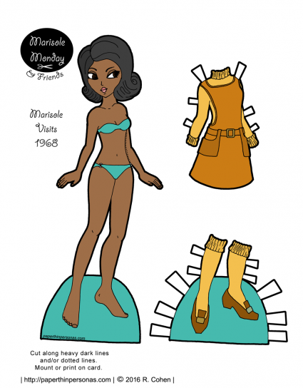 A free printable African-American paper doll with hair and a dress from 1968 from paperthinpersonas.com.