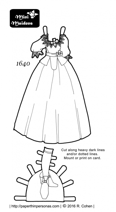 A 17th century paper doll dress in black and white for coloring and printing from paperthinpersonas.com.