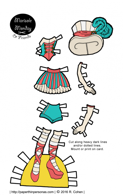 A paper doll circus costume in teal and pink. Free to print in color or black and white for coloring.