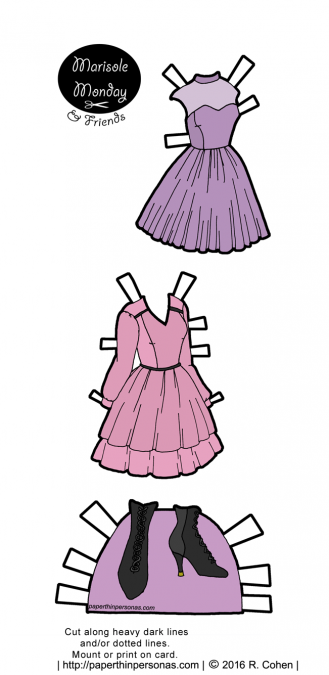 A pair of pastel paper doll cocktail dresses with some Victorian inspired lace up booties. Free to print from paperthinpersonas.com.
