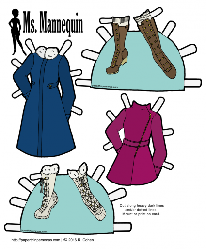 Paper dolls need warm clothing, too! Here are coats and boots for the Ms. Mannequin series. Free to print in black and white or in color from paperthinpersonas.com.