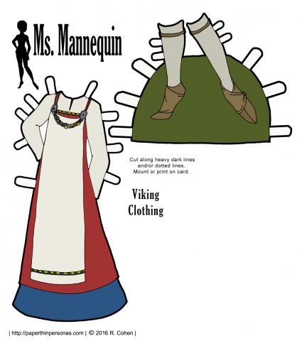 Historical viking clothing for the Ms. Mannequin paper doll series with shoes and stockings. Free to print in color or black and white.