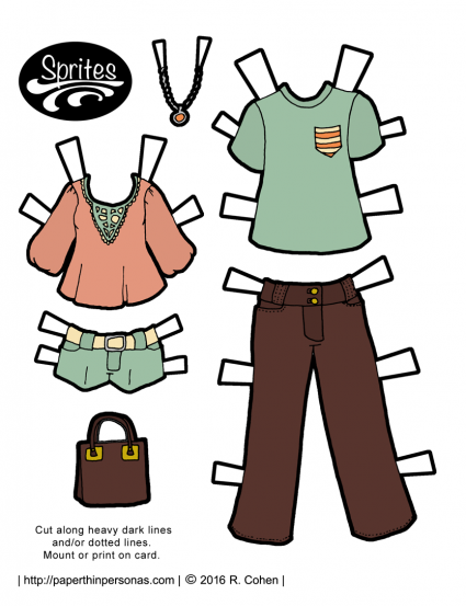 Spring colored modern paper doll fashions for the Sprites paper doll series. Available in color or black and white from paperthinpersonas.com