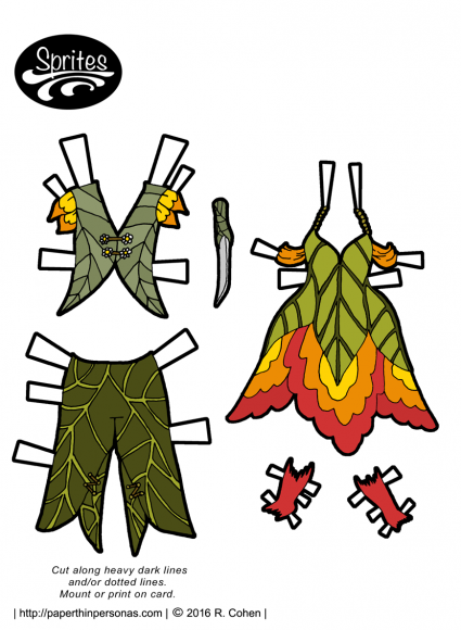 Fairy paper doll clothing for both boy and girl paper dolls. Free to print form paperthinpersonas.com.