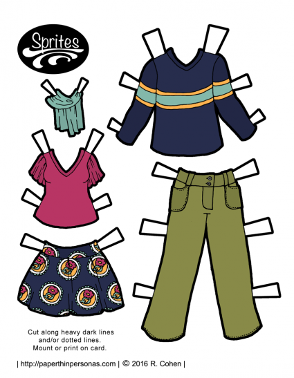 The Sprites printable paper dolls get a pair of contemporary paper doll outfits. One is a skirt and a t-shirt with flutter sleeves, plus a scarf. For the gents, there is a long sleeved t-shirt and a pair of cargo pants. Print in color or black and white.