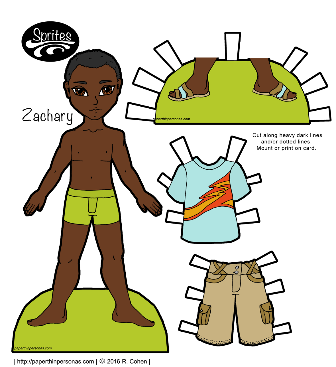 a casually dressed african american guy paper doll with shorts sandals and short hair