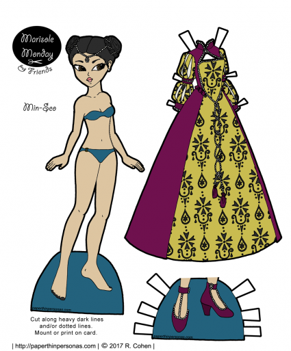 A Tudor fantasy gown and a paper doll to wear it. Print in color or black and white from paperthinpersonas.com.