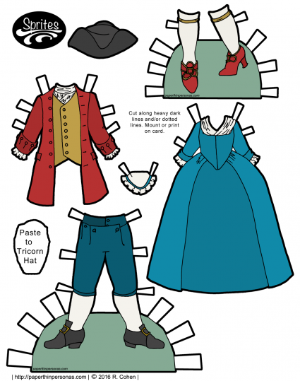 18th century clothing for paper dolls including a round-gown and a tricorn hat. Free to print in color or black and white from paperthinpersonas.com.