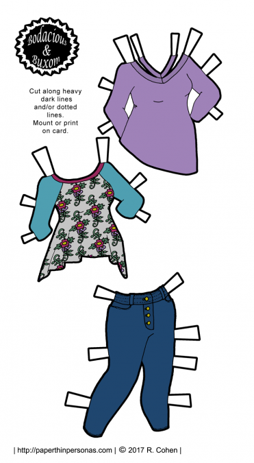 Curvy paper dolls fashions including tunics and jeans. Available in black and white or in color.